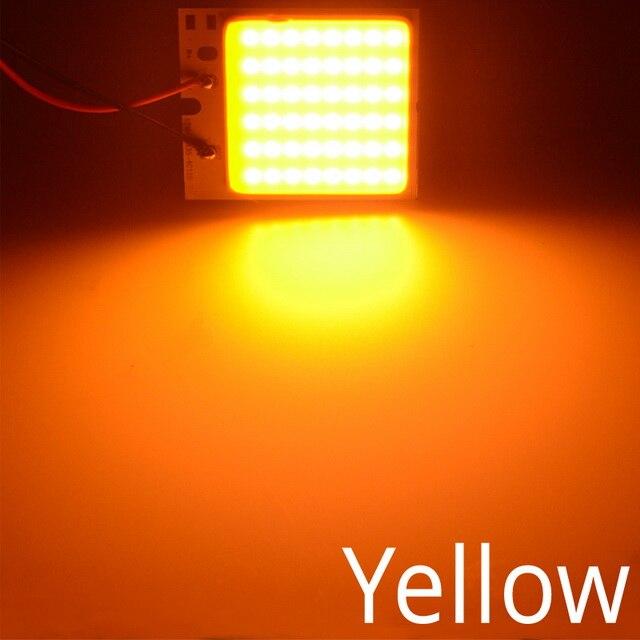 Белый, красный, синий T10 W5w Cob 24SMD 36SMD Автомобильный светодиодный панельный светильник для автомобиля, лампа для чтения в салоне автомобиля, купольная гирлянда BA9S DC 12v - Испускаемый цвет: Цвет: желтый