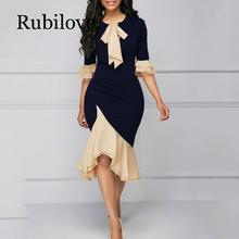 Rubilove 2019 Summer Vintage Elegant Office Lady Women Dresses Mermaid Flare Sleeve Bow Collar Asymmetric Girls Sexy Female Dres 2018 autumn vintage elegant office lady women dresses mermaid flare sleeve bow collar asymmetric falbala girls sexy female dress