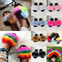 Woman Slides Women Furry Imitation Fox Fur Sandals For Female Indoor Shoes Fluffy Plush With Slippers Slip On Flip Flops New D30