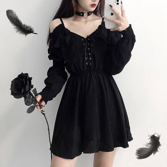 Dress devil girl original black 2021 spring and autumn sexy high waist viper dress shoulder long sleeve gothic dress ins hot 1