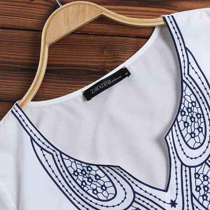 Богемные женские летние блузки с принтом 2019 ZANZEA Туника Chemise рубашки с коротким рукавом v-образный вырез работа Blusas элегантные топы Плюс Размер