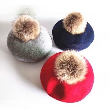 Модные зимние детские шерстяные мягкие береты, осенние женские повседневные Полиэстеровые Меховые помпоны, береты, шапки Gorras