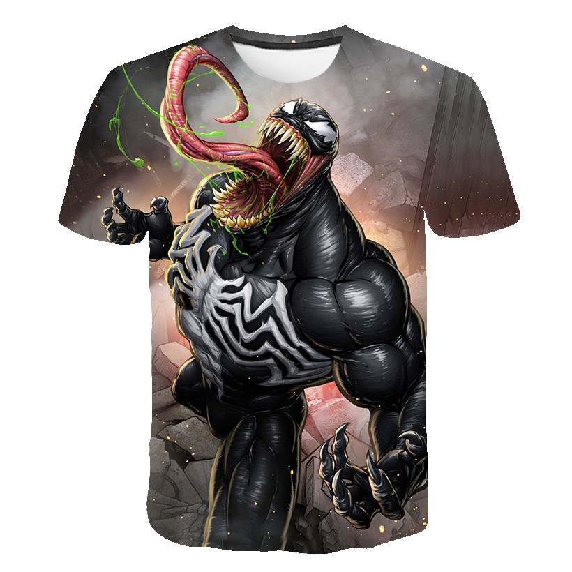 Men's T-shirt Fashion DC Venom Printed T-shirt With Round Neck And Short Sleeve Summer Leisure Street Hip Hop T-shirt Men's Top