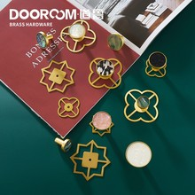 Dooroom Brass Furniture Handles Shell Simple Nordic Pastoral Wardrobe Dresser Knobs Cupboard Cabinet Drawer Round Colorful Pulls(China)