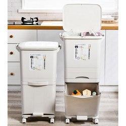 42L كبير طبقات مزدوجة صناديق قمامة القمامة المطبخ الرأسي النفايات فرز صناديق مع عجلة كيس النفايات حامل التخزين القابلة لإعادة التدوير