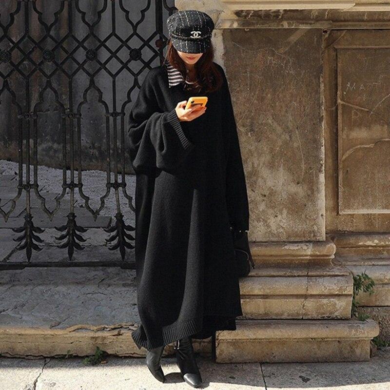 Новый винтажный черный свитер с v-образным вырезом, женское платье, зимний длинный свитер, вязаные платья, свободные макси платья больших ра...