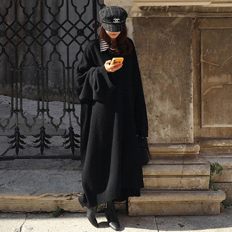 New Vintage v neck black Sweater Women Dress Winter Long Sweater Knitted Dresses loose Maxi Oversize Dresses Long Robe Vestidos