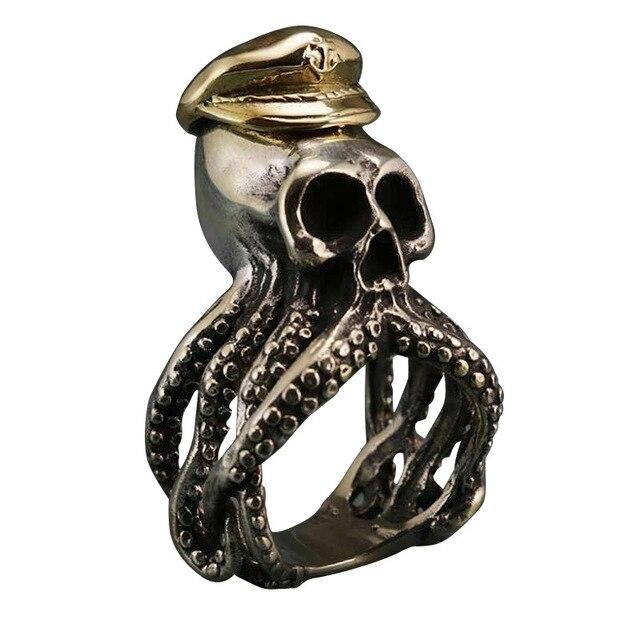 Nouveau style zircon océan bleu anneau poulpe crâne capitaine alliage anneau hommes punk vintage bijoux banquet accessoires cadeaux vacances