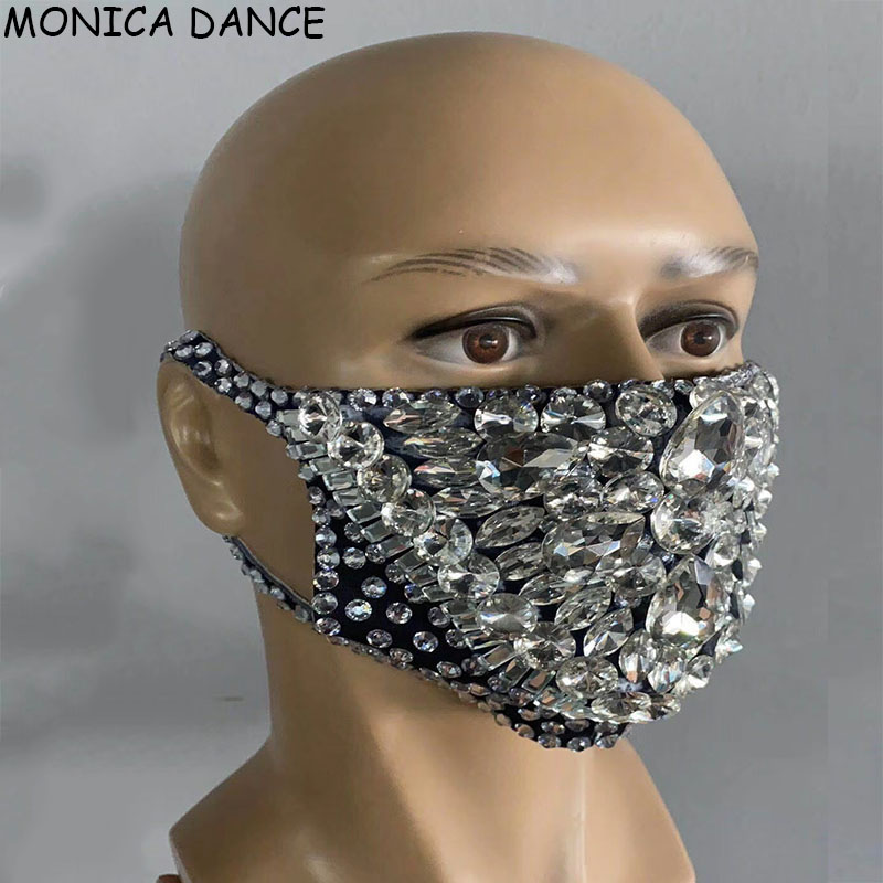 New Fashion Rhinestones Masks Party Show Costume Performance Evening Club Dance Wear Singer Costume Stones Masks