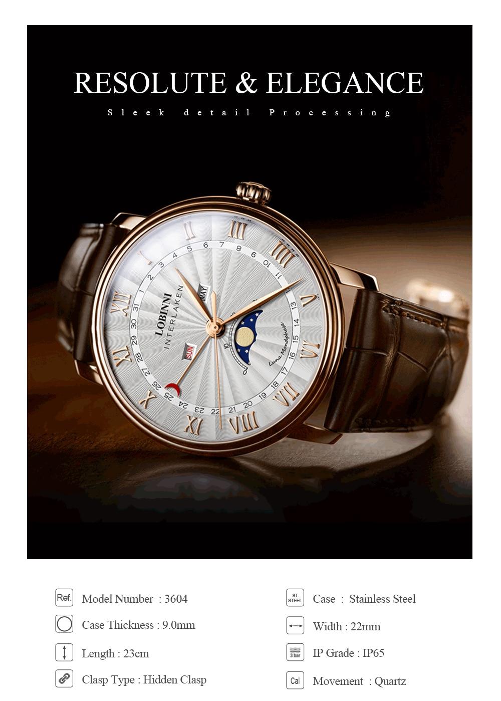 H2d98f1adf836476d8a1c786fa92801e0B Switzerland LOBINNI Men Luxury Brand Quartz Watch Men Sapphire Waterproof Moon Phase Japan Quartz Movement Male Wristwacth