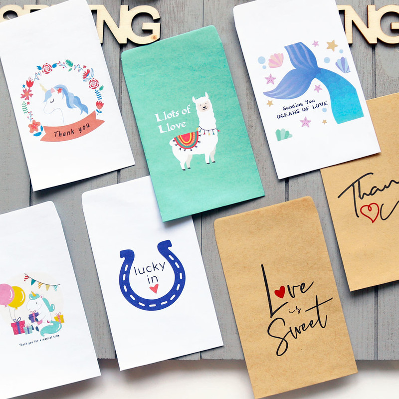 20PCS Kraft Paper Candy Bag Thank You Small Lovely Envelope Paper Bag Friend Gift Storage Photo Postcard Greeting Card Bags