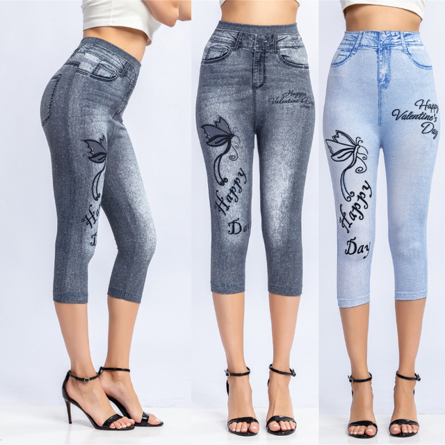 3/4 Leggings Women Breeches Elastic Slim Jeans Leggings High Waist Capri Pants Jeggings Female Short Leggings 1