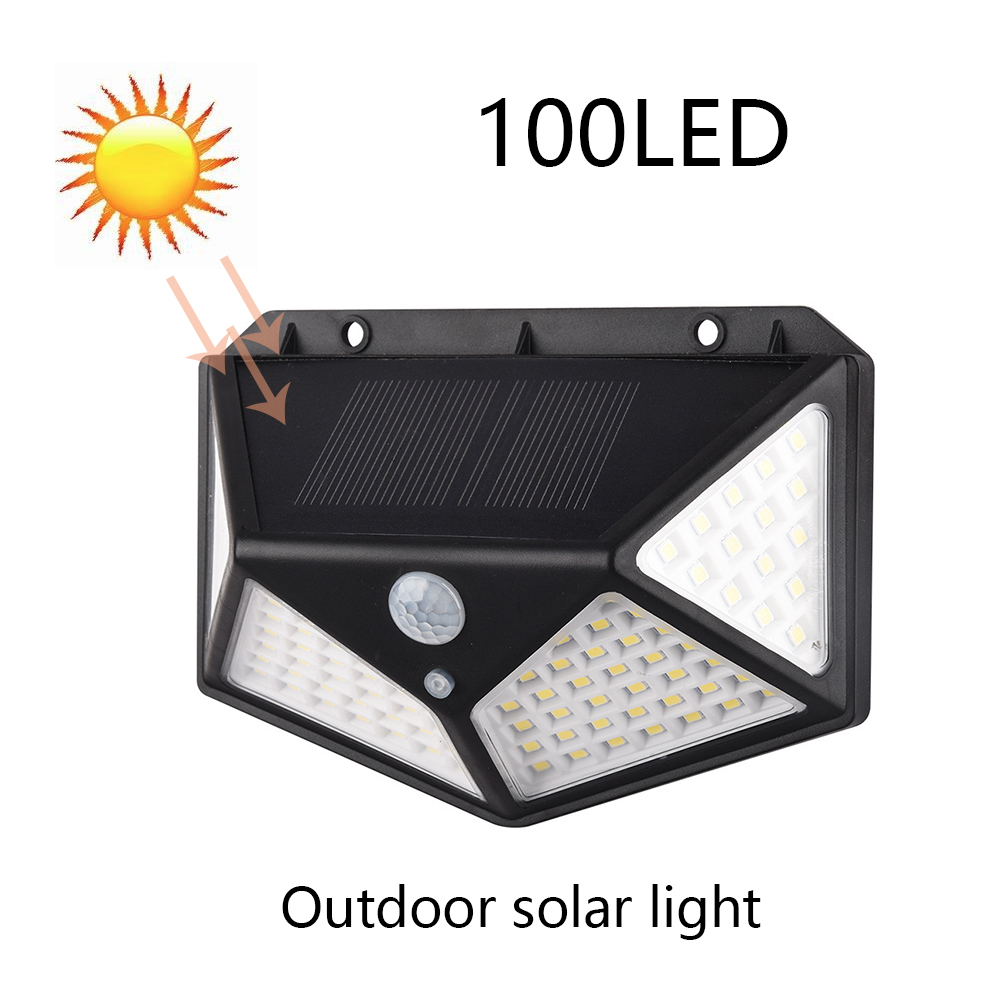 100/200 LED Four-Sided Solar Power Light 120 Degree Angle 3 Modes Motion Sensor Wall Lamp Outdoor Waterproof Yard Garden Lamps