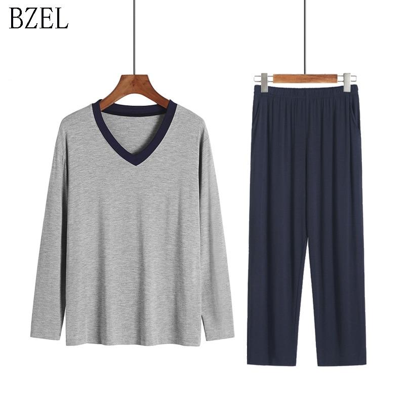 BZEL Long Sleeve Men's Sleep&Lounge Pajama Man Modal Pyjama Set Pijama Casual Home Suit V-neck Sleepwear Men's Plus Size XXXXL