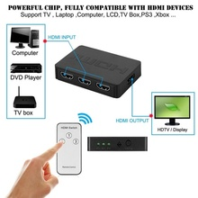 3 In 1 Out HDMI Splitter with Remote Control 1080P Ports for Multimedia GV99