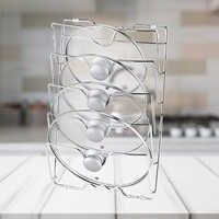 Behogar Pan Pot Covers Holding Storage Rack Tools Home Kitchen Save Space Pan Lid Organizer Metal Rustproof Pot Covers Holder