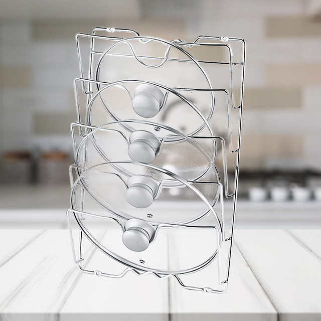Behogar パンポットカバー保持収納ラックツール家庭の台所スペースを節約パンふたオーガナイザー金属防錆ポットカバーホルダー