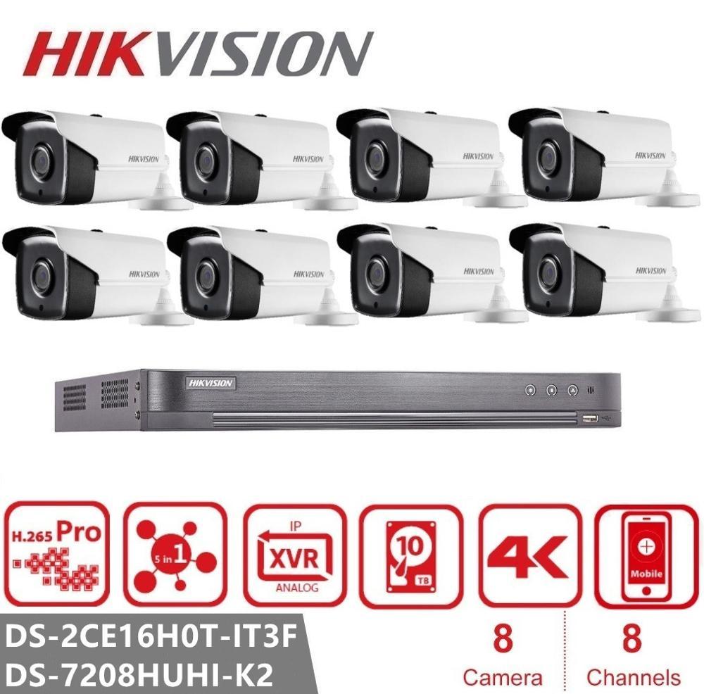 Hikvision Video Surveillance Kits 8CH DVR DS-7208HUHI-K2 + 8pcs DS-2CE16H0T-IT3F 5MP Bullet Security Analog Camera