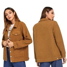 Women Autumn Winter Loose Solid Color Jackets Lapel Casual Long Sleeve Warm Cashmere Wool Coat