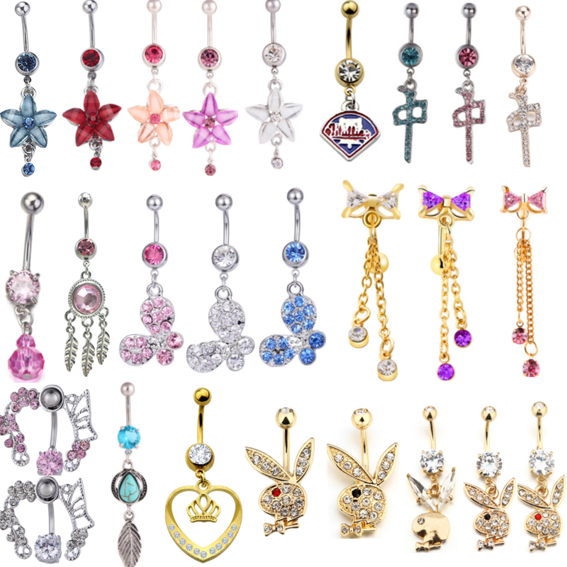 1PCS Fashion Navel Piercing Surgical Steel Flower Belly Button Ring Dangle Rabbit Bally Bar Piercing Nombril Bijoux Body Jewelry
