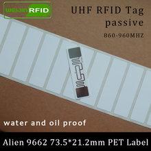 Uhf rfid тег alien 9662 печатная ПЭТ этикетка 915 МГц 900 868