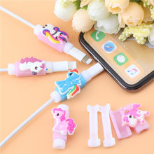 2Pcs Funny My Little Pony Cartoon Cable Protector For iPhone USB Charging Cable Cute Data Line Cord Protector Cable Winder Cover(China)
