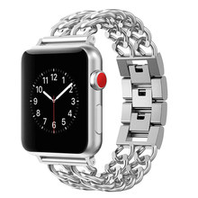 Correa para Apple Watch Band 38mm 42mm correa de acero de aleación para serie de correas para iwatch 1 2 3 4 5 40mm 44mm pulsera de cadena estilo oro nuevo(China)