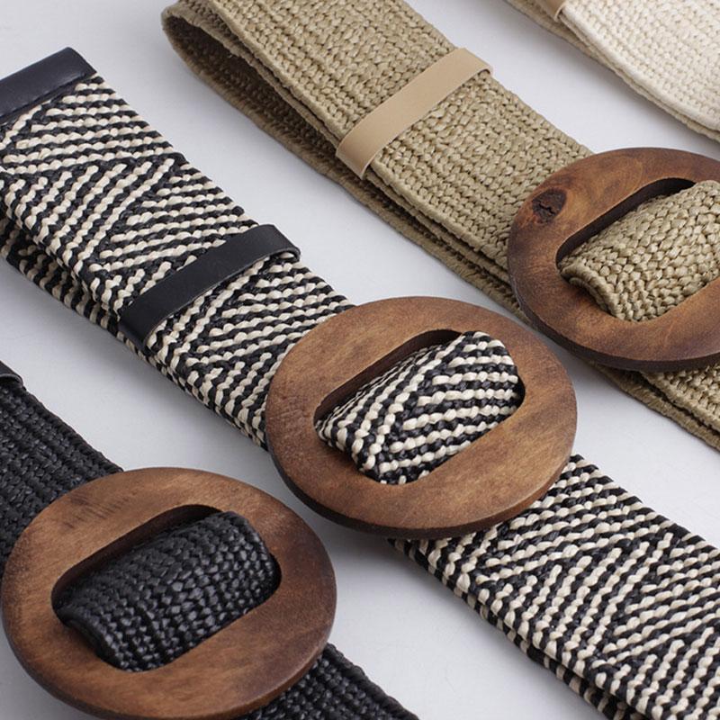 2019 New Summer Ladies Wide Braided Woven Straw Waist Belt With Round Wooden Buckle Belts For Women Dress Cinturon Madera Paja