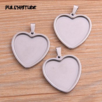 PULCHRITUDE 2pcs 25mm Inner Size Stainless Steel Siver Heart Cabochon Base Setting Diy Blank Pendant Tray For Necklace Making juya jewelry making cabochon base 4pcs 25mm inner size diy charms necklace pendant cabochon matching glass supplies accessories