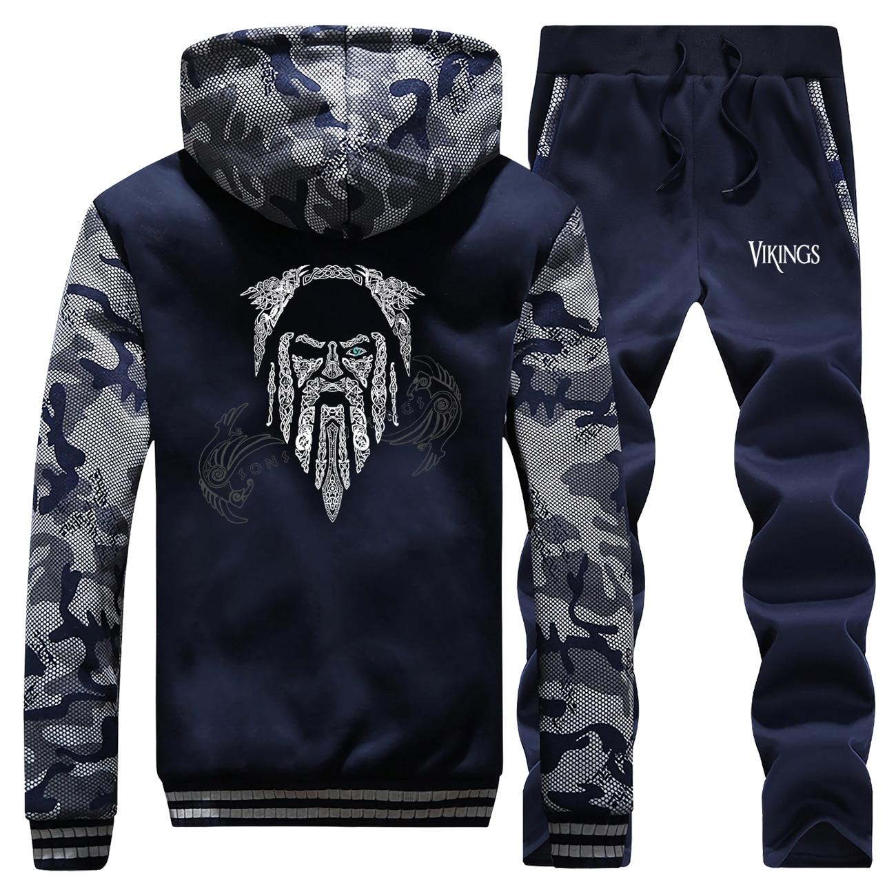 New 2019 Winter Vikings Coat Thick Sweatshirts Fleece Hooded Warm Jackets Funny Men Camouflage Streetwear Suit+2 Piece Set Pants