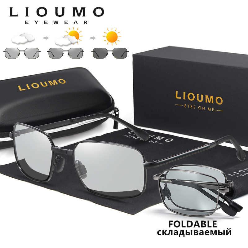 Мужские и женские классические квадратные солнцезащитные очки LIOUMO, поляризационные солнцезащитные очки для вождения с изображением Хамелеона, фотохромные линзы gafas de sol hombre