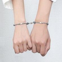 Conjunto de 2 uds. De pulsera de amor infinito para mujer y hombre, pulsera de cadena con Cierre magnético, joyería de moda