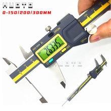 0-150mm 6 polegadas 200mm 300mm 0.005mm terma abs origem digital caliper ip54 à prova de água vernier eletrônico caliper micrômetro calibre