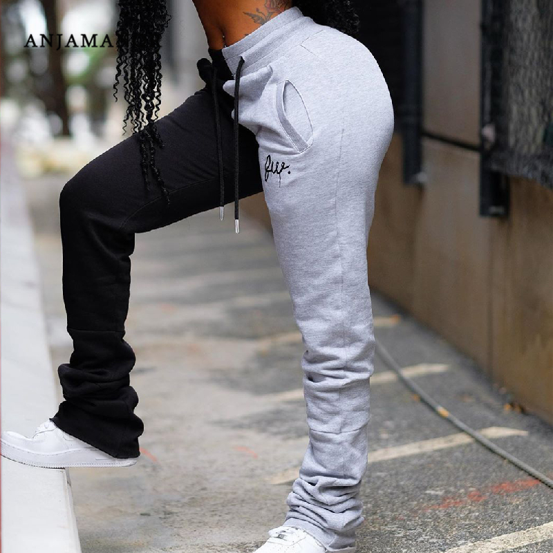 ANJAMANOR Fashion Patchwork Stacked Sweatpants Women Clothes Plus Size High Waist Joggers For Women Streetwear Pants D35-AG18