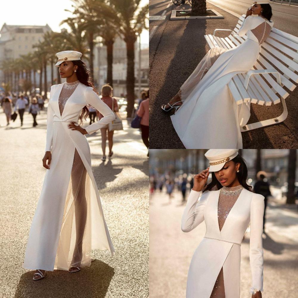 2020 Boho Wedding Dresses Lace Rhinestones A Line Floor Length Bohemian Bridal Gowns High Collar Plus Size Beach Robes De Mariée