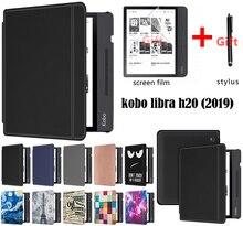 Gligle coque pour E book, avec sommeil automatique, avec motif magnétique, pour KOBO Libra H2O, KOBO N873 + stylet + film décran