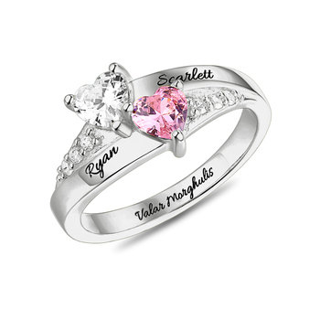 цена AILIN 925 Silver Personalized Rings Heart Birthstone Custom Name Wedding Ring Women Engagement Rings Jewelry Lovers Couple Gift онлайн в 2017 году