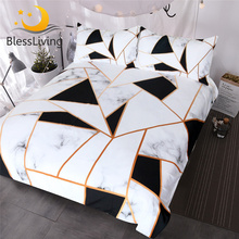 BlessLiving Irregular Geometric Printed Bedding Set Black and White Duvet Cover Marble Texture Bed Queen Bedspreads