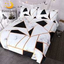 BlessLiving Irregular Geometric Printed Bedding Set Black and White Duvet Cover Set Marble Texture Bed Cover Queen Bedspreads(China)