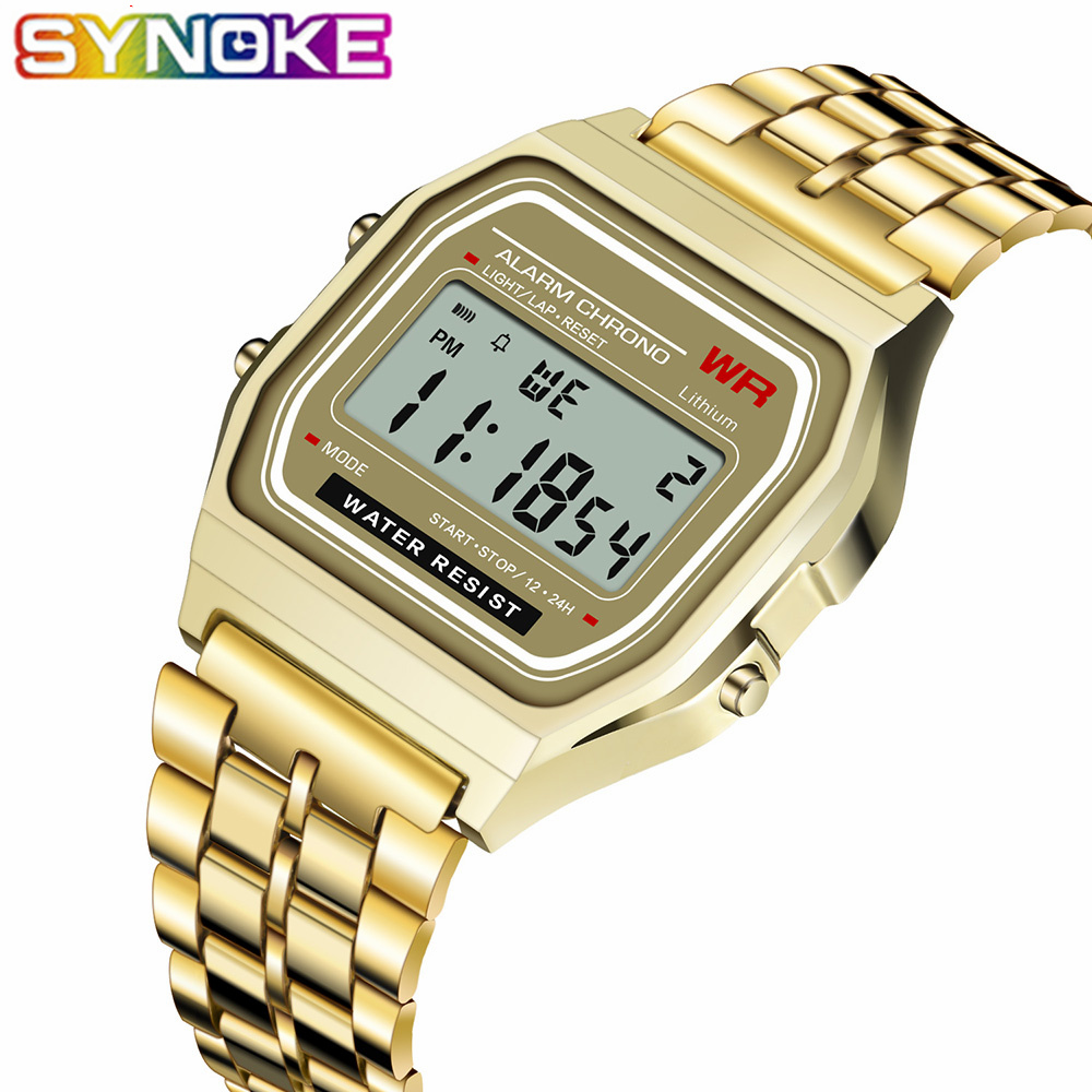 SYNOKE 2019 Luxury Brand Design LED Retro Watch G Style Watch Waterproof Watch For Men Cheap Electronic Digital Watches Relojes