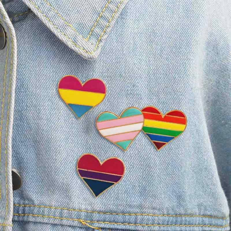 Arco-íris amor esmalte broche orgulho gay arco-íris coração emblema pinos jaquetas masculinas e femininas lapela broche crianças e presentes neutros