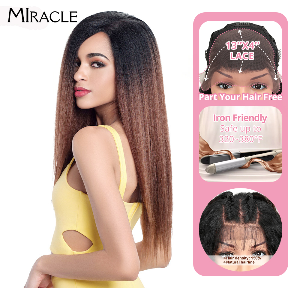 """Miracle Hair Ombre 26""""Inch Long Straight Synthetic Hair Lace Front Wigs For Black Women Yaki Lace Wigs With Baby Hair Free Part Synthetic Lace Wigs  - AliExpress"""