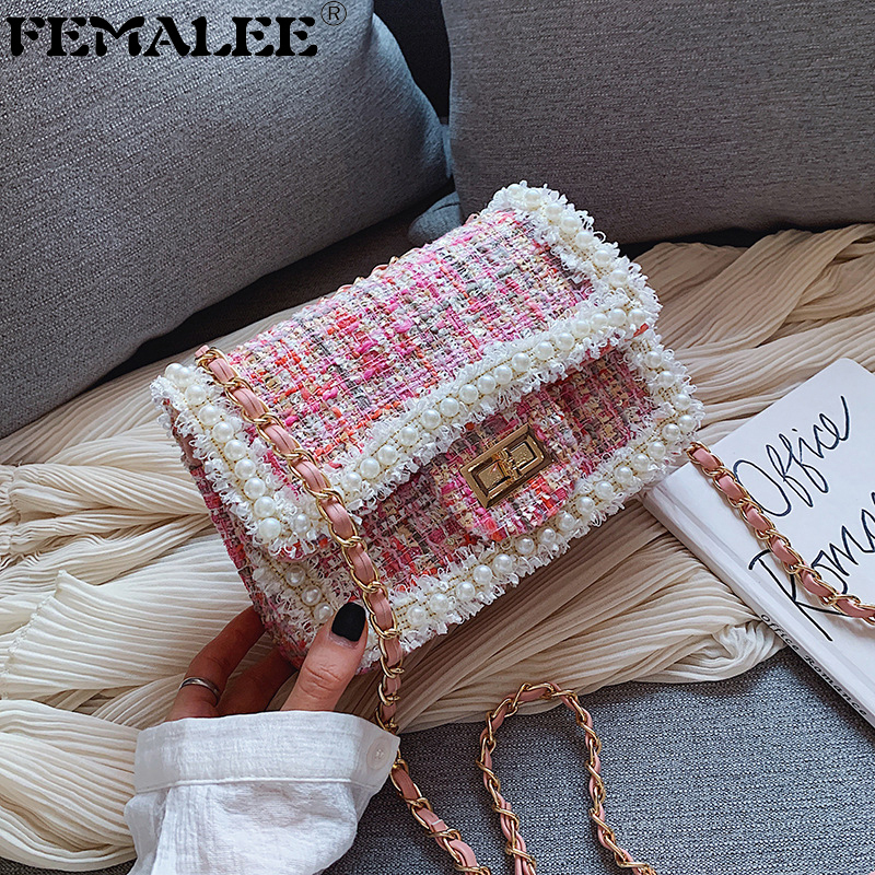 Chains Tweed Shoulder Bag Winter Fashion Women Trendy Wool Korean 2019 New Crossbody Bag Ladies Pearls Bordered Hangbags