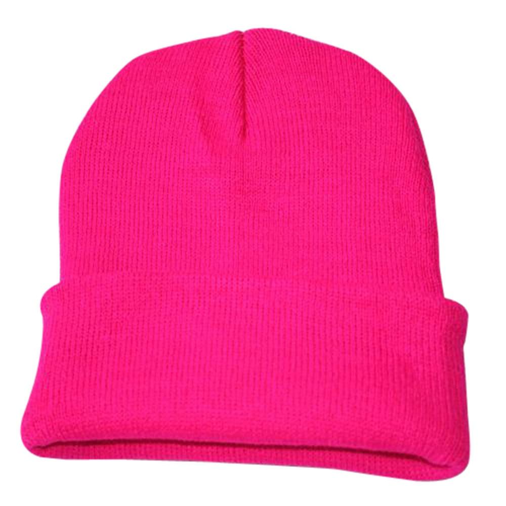 Осенне-зимняя одежда из шерсти смеси мягкий теплый вязаный Кепки Повседневное Chapeau унисекс сапоги высотой выше колена Вязание шапка в стиле хип-хоп кепка, теплая зимняя Лыжная шапка# Y5 - Цвет: Hot Pink
