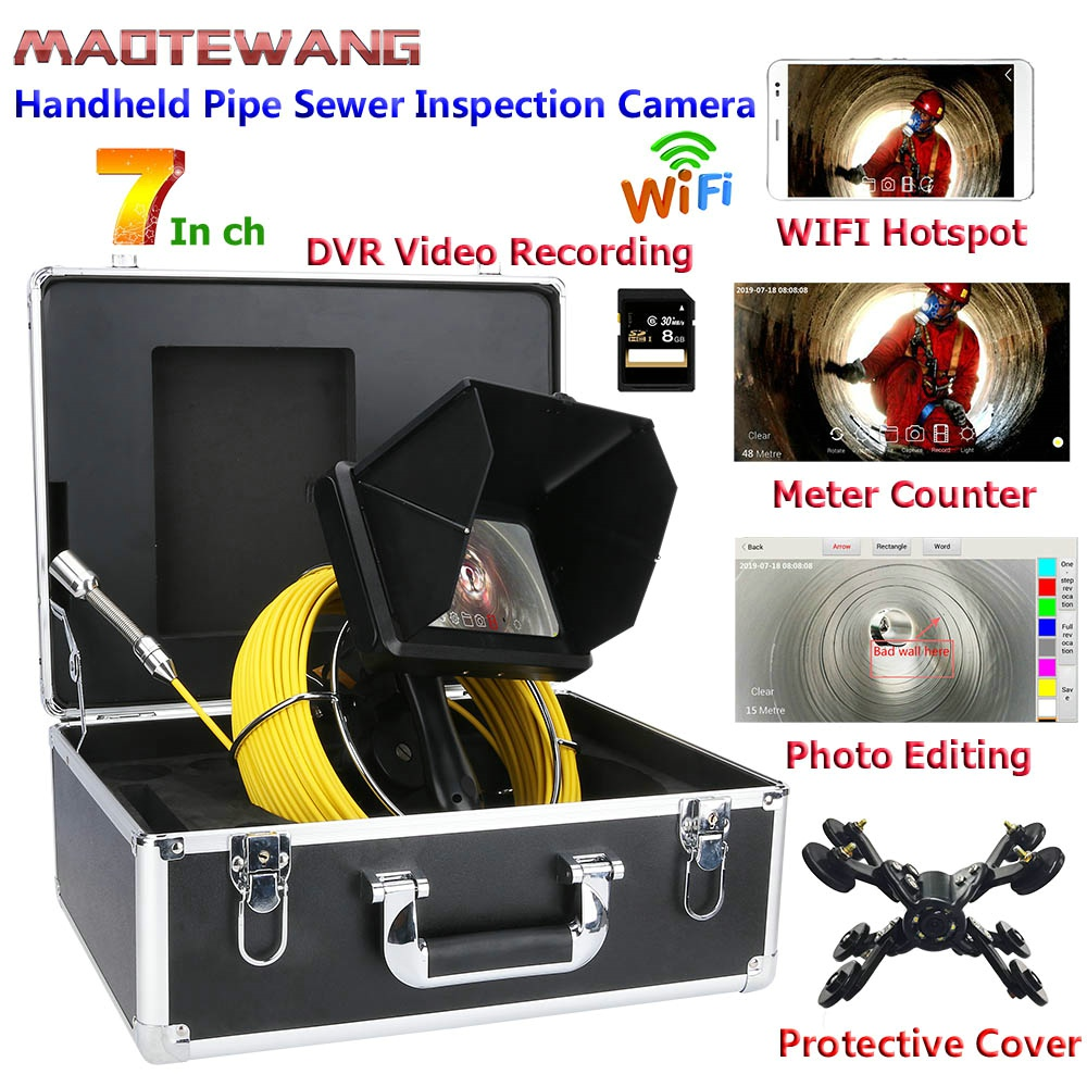 Industrial-Pipe Video-Camera Sewer-Inspection With Meter-Counter/dvr Video-Recording/wifi-W