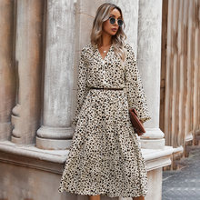 Primavera manga longa midi vestido feminino leopardo impressão magro branco casual das mulheres vestidos nova chegada 2021 verão elegante
