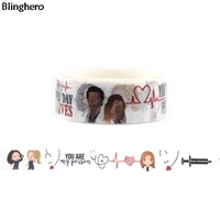 Blinghero Grey's Anatomy 15mmX5m Washi Tape Stylish Masking Tape Notebook Stickers Cool Hand Account Tapes Adhesive Tape BH0058