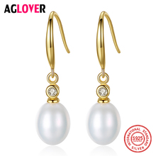 AGLOVER Real 925 Silver Gilt Drop Earrings Natural Freshwater Pearl Earrings Pearl Jewelry Women Gift New Fashion Earrings 2019