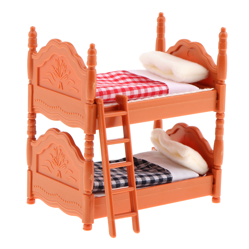 Dollhouse Miniature Bed - Dolls House Kids Room Nursery Furniture Bunk Bed With Accessories - 1/12 Scale (Brown)
