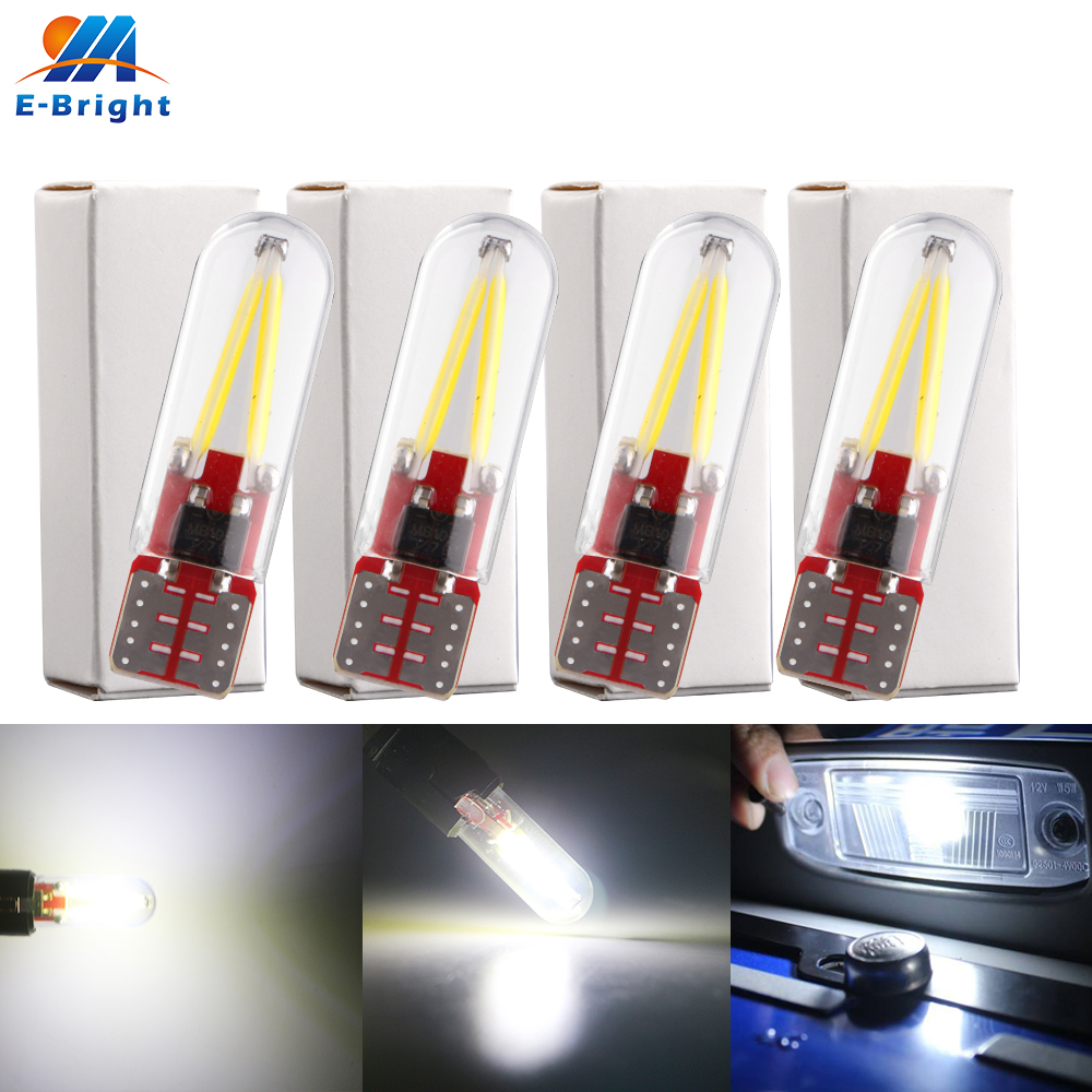 4X 12V T10 COB <font><b>14</b></font> <font><b>Smd</b></font> Glass LED 70LM 194 168 W5W Car Interior LED Car Reading License Light White Blue Red Ice Blue Green Amber image